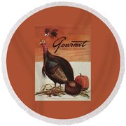 A Thanksgiving Turkey And Pumpkin Round Beach Towel