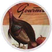 A Thanksgiving Turkey And Pumpkin Round Beach Towel