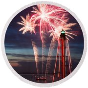 A Three Burst Salvo Of Fire For The Fourth Of July Round Beach Towel