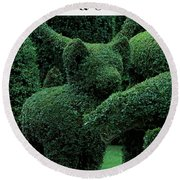 A Topiary Bear In Alice Braytons Green Animals Round Beach Towel
