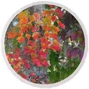 Round Beach Towel featuring the digital art A Touch Of Autumn by Mariarosa Rockefeller