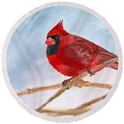 Round Beach Towel featuring the painting A Touch Of Red by Lynne Reichhart