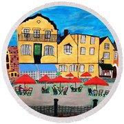 Round Beach Towel featuring the pyrography A Town Square On A Clear Day by Magdalena Frohnsdorff
