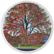 A Tree In Sherborn Round Beach Towel