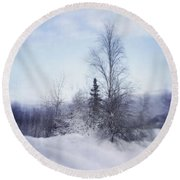 A Tree In The Cold Round Beach Towel