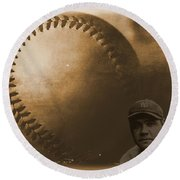 A Tribute To Babe Ruth And Baseball Round Beach Towel by Dan Sproul