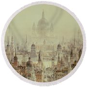 A Tribute To Sir Christopher Wren Round Beach Towel by Charles Robert Cockerell