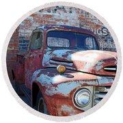 A Truck In Goodland Round Beach Towel by Lynn Sprowl