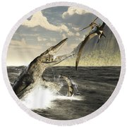A Tylosaurus Jumps Out Of The Water Round Beach Towel
