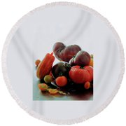 A Variety Of Vegetables Round Beach Towel