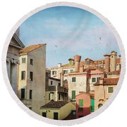 A Venetian View Round Beach Towel