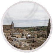 Round Beach Towel featuring the photograph A View From The Iglesia De San Ildefonso  by Lorraine Devon Wilke
