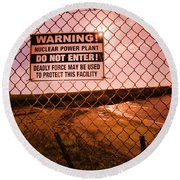 A View Of A 'do Not Enter' Sign Round Beach Towel