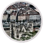 Round Beach Towel featuring the photograph A View Of Vienne France by Tom Prendergast