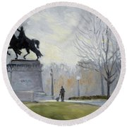 A Walk In Forest Park In St.louis Round Beach Towel by Irek Szelag
