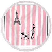 A Walk In Paris Round Beach Towel