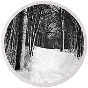 A Walk In Snow Round Beach Towel