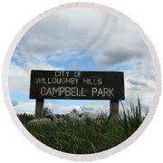Round Beach Towel featuring the photograph A Walk In The Park  by Michael Krek