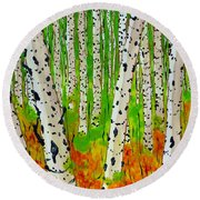 A Walk Though The Trees Round Beach Towel by Jackie Carpenter