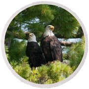 A Watchful Pair Round Beach Towel