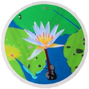 A Water Lily In Its Pad Round Beach Towel
