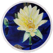 Round Beach Towel featuring the painting A Waterlily by Marilyn  McNish