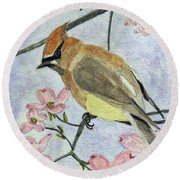 A Waxwing In The Dogwood Round Beach Towel