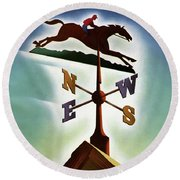 A Weathervane With A Racehorse Round Beach Towel