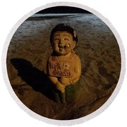 Round Beach Towel featuring the photograph A Welcoming Friend On My Night Stroll by Mr Photojimsf
