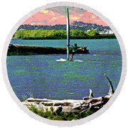 A Wind Surf Holiday Round Beach Towel