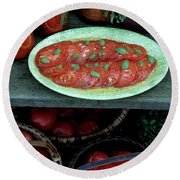 A Wine & Food Cover Of Tomatoes Round Beach Towel
