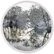 A Winter Scene Round Beach Towel