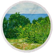 A Winter's Day At The Beach Round Beach Towel