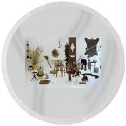 A Woman In A Hammock And Porch Furniture Round Beach Towel