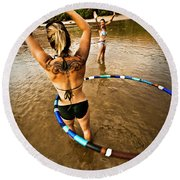 A Women With A Tattoo Plays And Hula Round Beach Towel