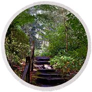 A Wooded Path Round Beach Towel