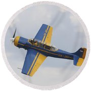 A Yakolev Yak-52 Plane Flying Round Beach Towel by Timm Ziegenthaler