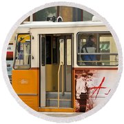 A Yellow Tram On The Streets Of Budapest Hungary Round Beach Towel