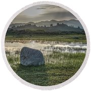 Round Beach Towel featuring the photograph A Yellowstone Sunrise And Hazy Morning Ridges by Bill Gabbert