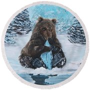 A Young Brown Bear Round Beach Towel
