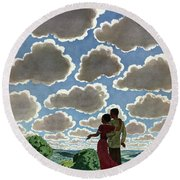 A Young Couple And Their Dogs On A Hilltop Round Beach Towel