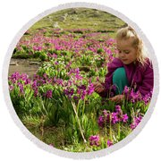 A Young Girl Sitting In  Wildflowers Round Beach Towel