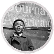 A Young Harlem Newsboy Round Beach Towel