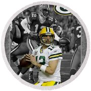 Aaron Rodgers Packers Round Beach Towel