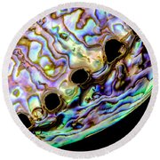 Abalone Shell Closeup Round Beach Towel