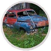 Abandoned 1950 Mercury Monteray Buick Round Beach Towel