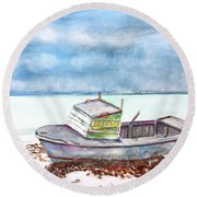 Abandoned Beached Wood Boat Round Beach Towel