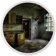 Abandoned Building - Old Asylum - Open Cabinet Doors Round Beach Towel