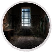 Round Beach Towel featuring the photograph Abandoned Building - Old Room - Room With A Desk by Gary Heller