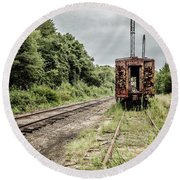 Abandoned Burnt Out Train Cars Round Beach Towel